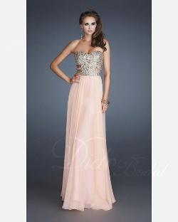 Dido Bridal - Elegant Chiffon Sweetheart Beaded Chiffon Floor-length Prom Dress