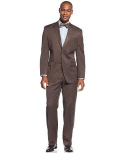 Sean John - Peak Lapel Brown Sharkskin Suit