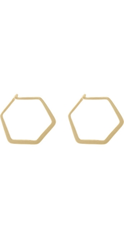 Ileana Makri - Gold Hexagonal Hoop Earrings