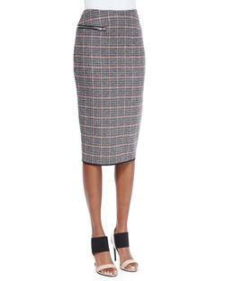 Victoria Beckham - Plaid Check Tweed Pencil Skirt