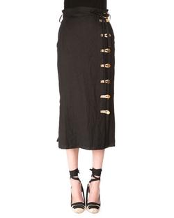 Altuzarra  - Looped-Button Linen Midi Skirt