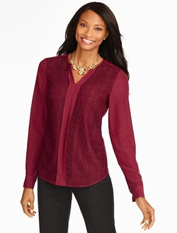 Talbots - Floral Lace-Front Blouse