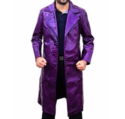 Outfit Makers  - The Joker Purple Crocodile Pattern Trench Coat