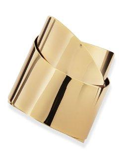 Alexis Bittar   - Golden Metal Geometric Ribbon Cuff Bracelet