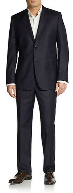 Saks Fifth Avenue BLACK  - Slim-Fit Shadow-Stripe Wool Suit