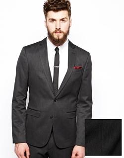 ASOS  - Slim Fit Suit Jacket In Fine Stripe