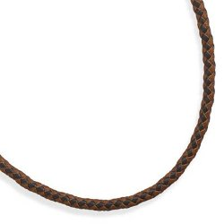 Bling Ltd  - Braided Brown and Tan Leather Necklace