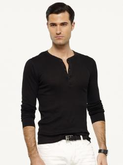 Black Label - Ribbed Pima Cotton Henley