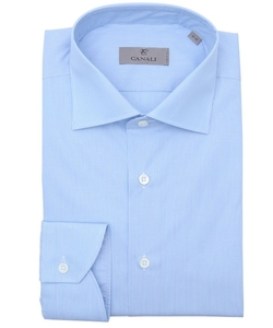 Canali  - Pinstriped Cotton Spread Collar Dress Shirt