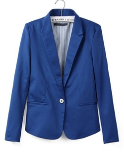Chicnova - Pure Color Slim Fit Blazer With Shrugging Shoulders