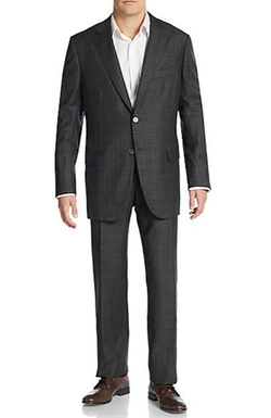 Isaia  - Windowpane Plaid Wool Suit