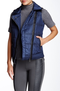 Tractr Jeans  - Faux Leather Trim Puffer Vest