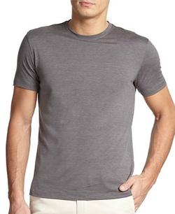 Isaia  - Silk & Cotton Crewneck Tee Shirt