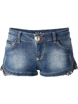Philipp Plein  - Denim Lace Panel Shorts