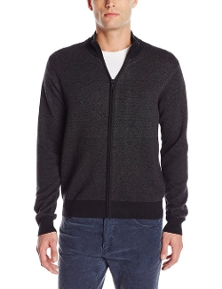 Perry Ellis - Tonal Pattern Full-Zip Sweater Jacket
