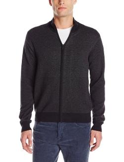 Perry Ellis - Tonal Pattern Full-Zip Sweater Jacket