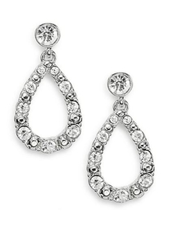 AK Anne Klein  - Studded White Stone Drop Earrings