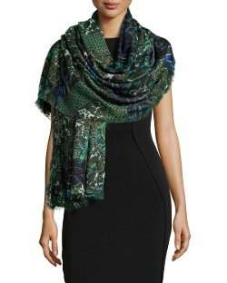 Roberto Cavalli   - Shimmery Printed Cashmere-Blend Wrap Scarf