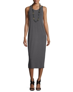 Eileen Fisher - Sleeveless Scoop-Neck Midi Dress