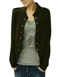 Allegra K  - Women Double Breasted Long Sleeve Autumn Blazer Coat