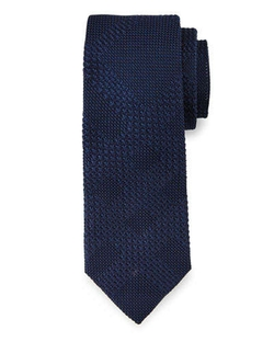 Textured - Tonal-Check Knit Silk Tie