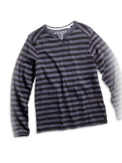 GUESS Kids  - Big Boy Long-Sleeve Slit-Neck Striped Tee