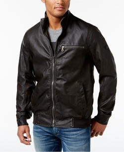 INC International Concepts - Varsity Faux Leather Zip-Front Jacket