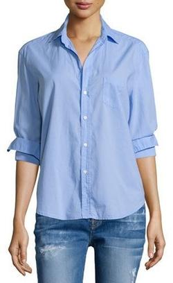 Frank And Eileen - Frank & Eileen Eileen Button-Front Poplin Shirt, Indigo