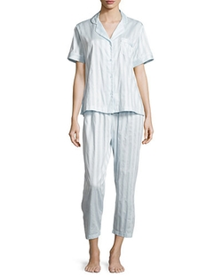 P. Jamas   - Tina Shadow-Stripe Short-Sleeve Long Pajama Set