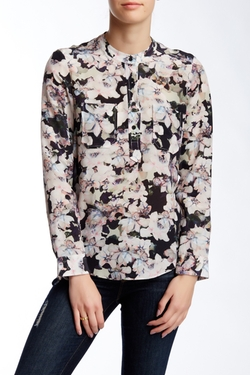 Rebecca Taylor - Frost Floral Double Pocket Silk Blouse