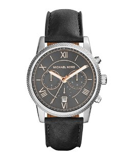 Michael Kors	  - Hawthorne Leather-Strap Watch