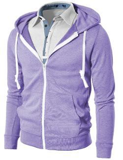 H2H  - Mens Fashion Lightweight Hoodie Zip-up Hoodie