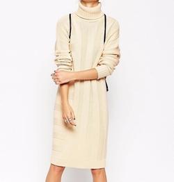 Asos White - Ribbed Stripe Sweater Dress