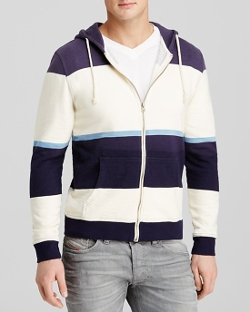 Threads For Thought  - Wide Stripe Zip Up Hoodie