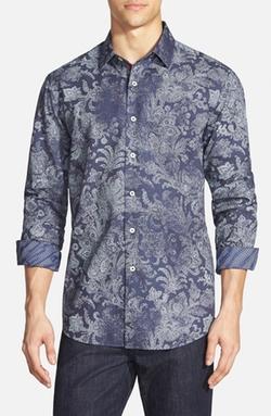 Bugatchi  - Shaped Fit Paisley Print Sport Shirt