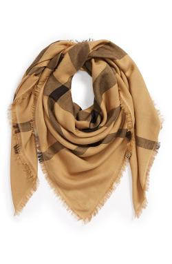 Burberry - Overdyed Chambray Check Square Scarf