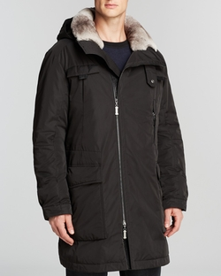Maximilian - Hooded Coat With Rabbit Fur Lining