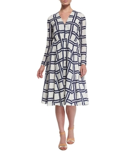 Creatures of the Wind  - Windowpane Long-Sleeve V-Neck Dress