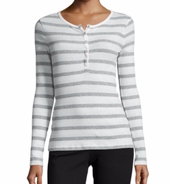 ATM Anthony Thomas Melillo - Long-Sleeve Striped Henley Top