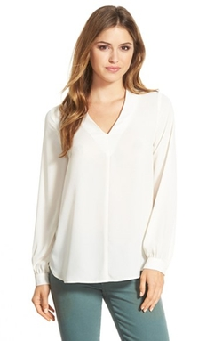 Pleione  - High/Low V-Neck Blouse