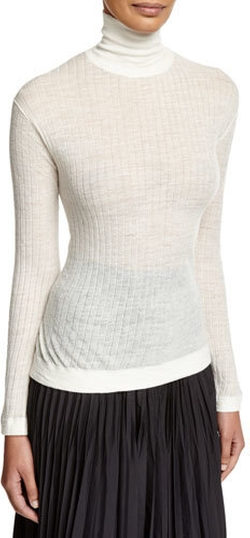 DKNY - Long-Sleeve Sheer Ribbed Pullover Top