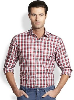 Saks Fifth Avenue Collection  - Plaid Cotton Sportshirt