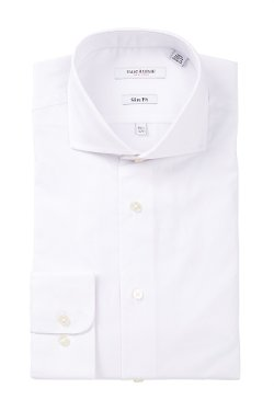Isaac Mizrahi  - Label Solid Long Sleeve Button Front Dress Shirt