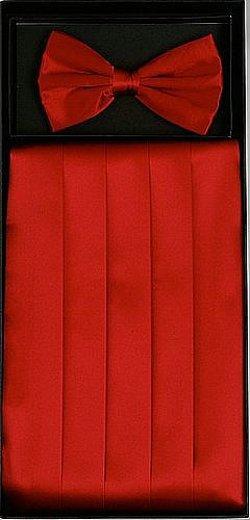 King Formal Wear - Classy Red Cummerbund and Bow Tie Set