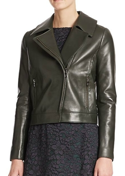 Tory Burch  - Waxed Leather Moto Jacket