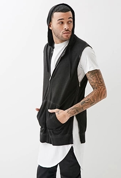 Forever 21 - Faded Zippered Sleeveless Hoodie
