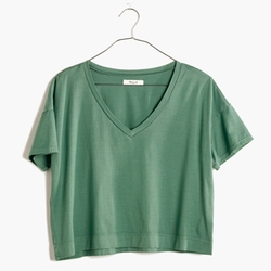 Madewell - Luster Cotton V-Neck Crop Tee