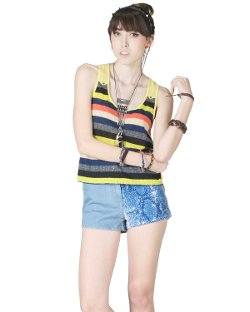 Flying Tomato  - Multi Color Stripe High-low Tank Top
