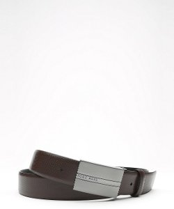 Hugo Boss  - Dark Brown Leather Embossed Belt