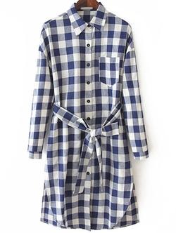 Romwe - Plaid Split Shirt Dress